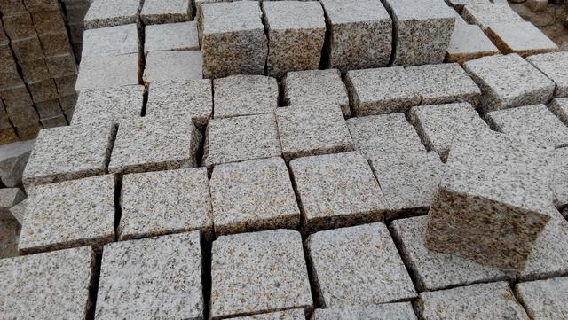 G350 cube paving,Yellow granite cube