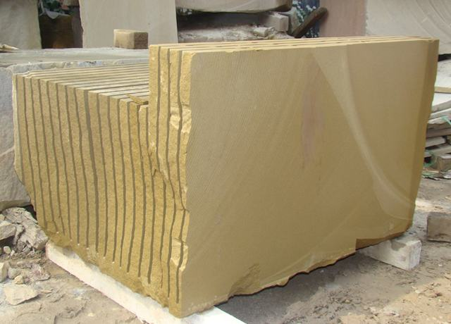 Yellow sandstone slabs